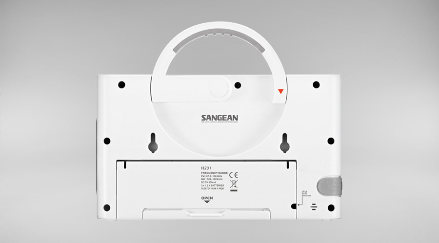 Sangean H-201 radio back